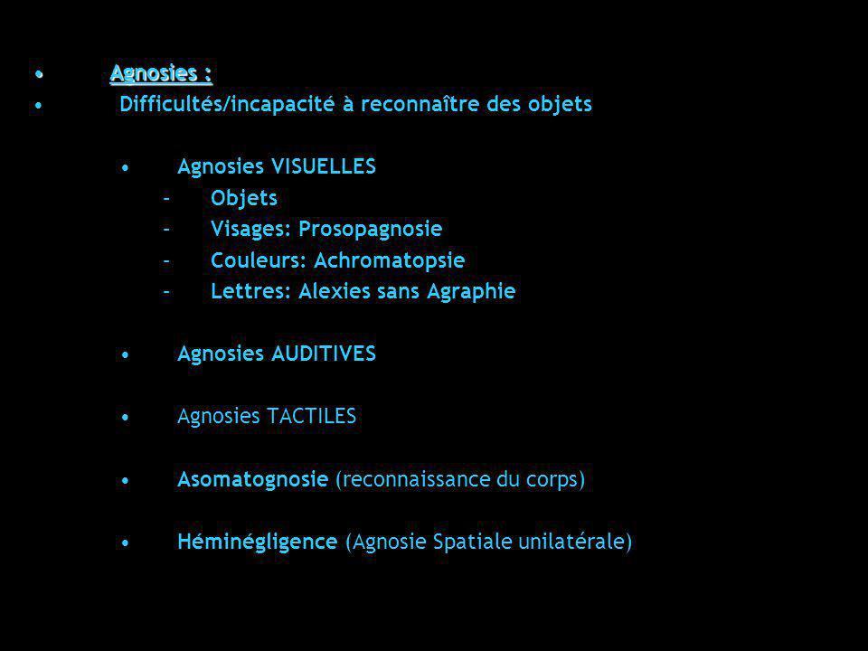 Agnosies :Agnosies : Difficultés/incapacité à reconnaître des objets Agnosies VISUELLES –Objets –Visages: Prosopagnosie –Couleurs: Achromatopsie –Lett