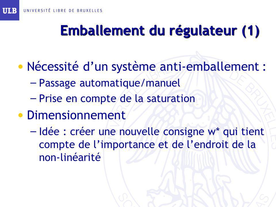 Emballement du régulateur (1) Nécessité dun système anti-emballement : – Passage automatique/manuel – Prise en compte de la saturation Dimensionnement