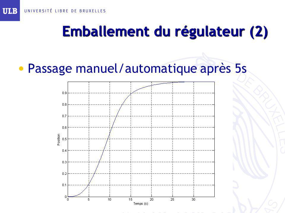 Emballement du régulateur (2) Passage manuel/automatique après 5s
