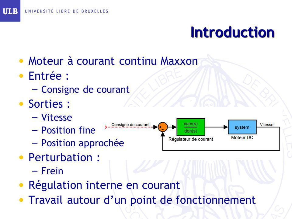 Introduction Moteur à courant continu Maxxon Entrée : – Consigne de courant Sorties : – Vitesse – Position fine – Position approchée Perturbation : –