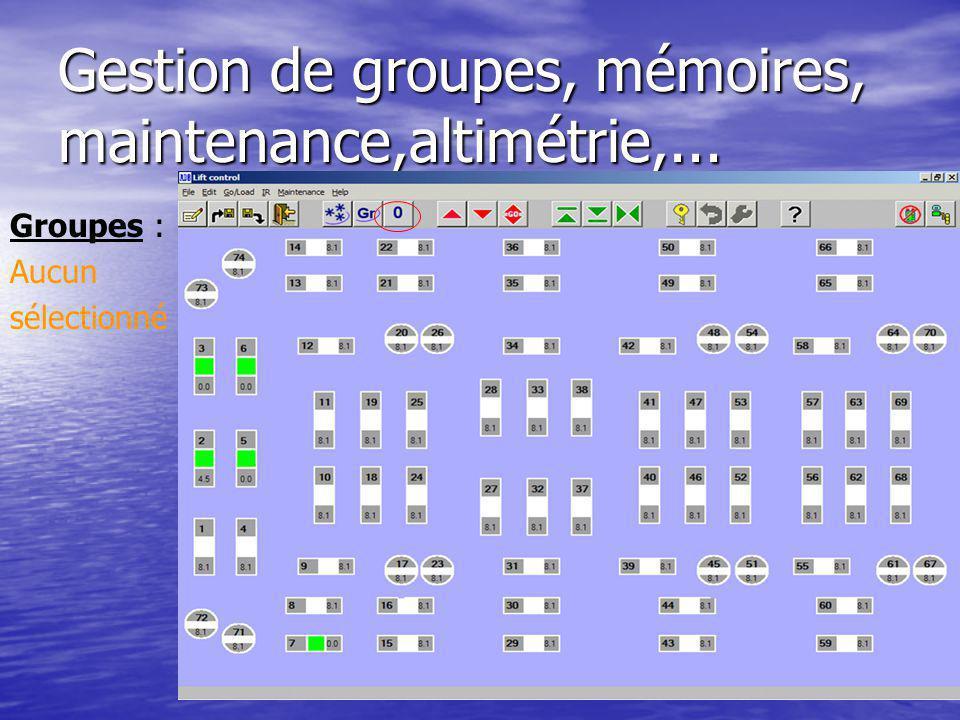 Gestion de groupes, mémoires, maintenance,altimétrie,... Groupes : Aucun sélectionné