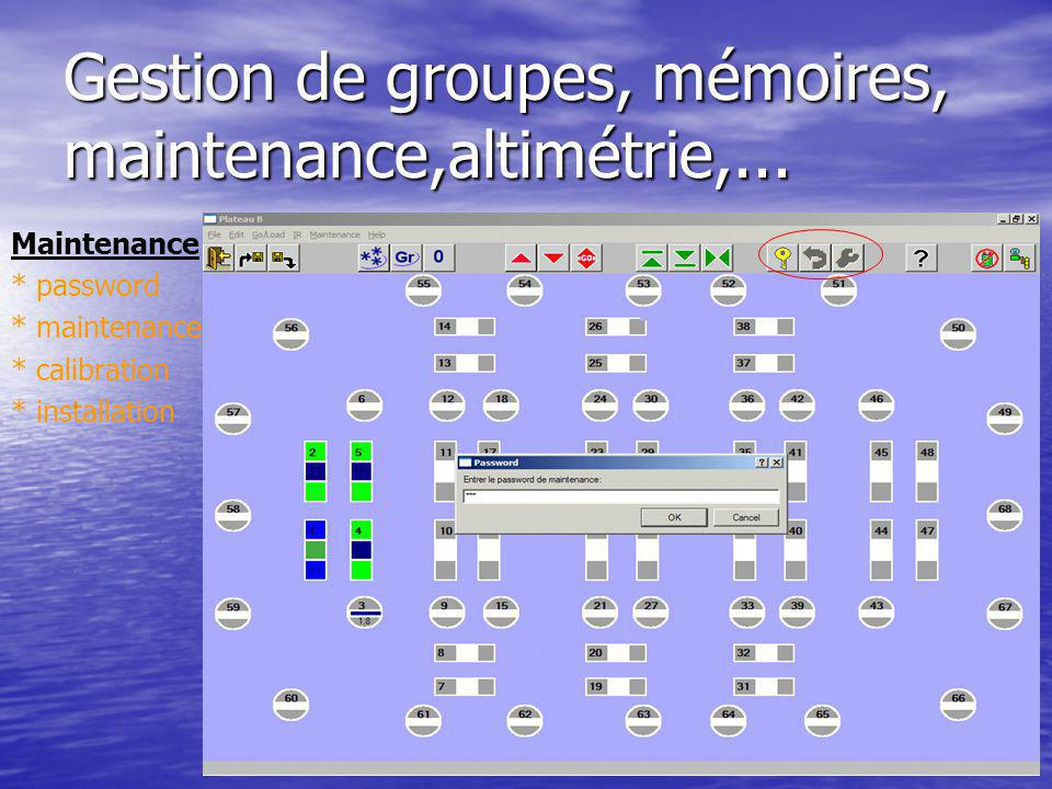 Gestion de groupes, mémoires, maintenance,altimétrie,... Maintenance * password * maintenance * calibration * installation