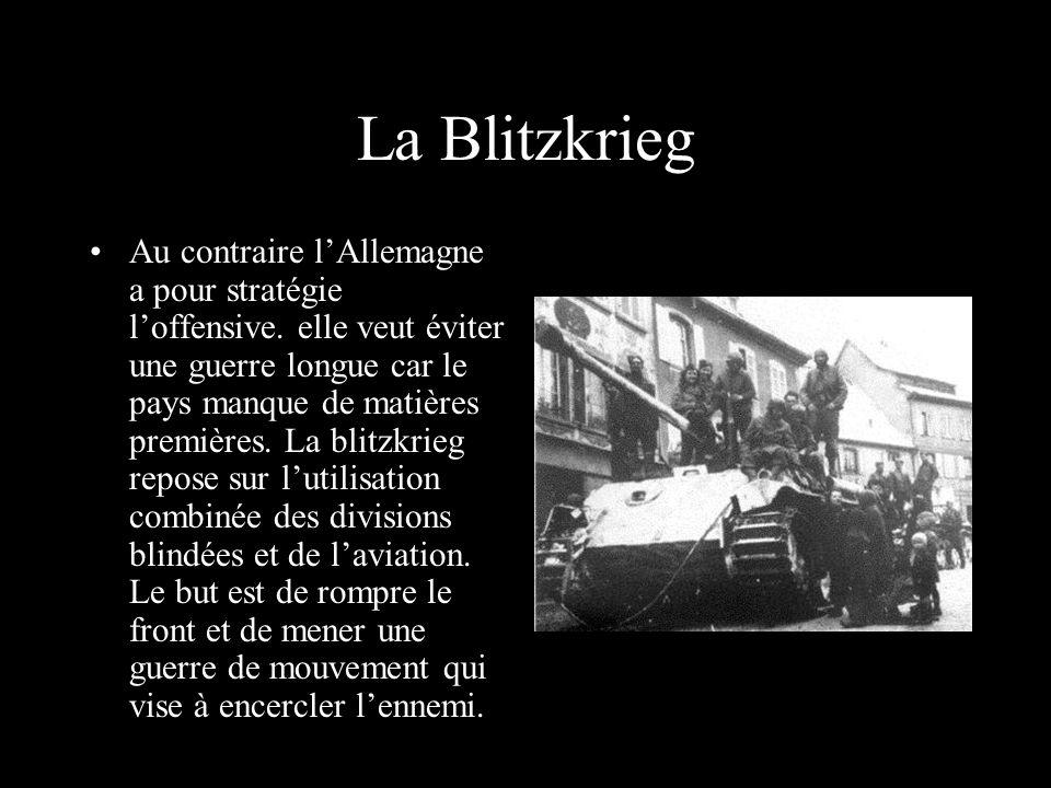 La Blitzkrieg Au contraire lAllemagne a pour stratégie loffensive.
