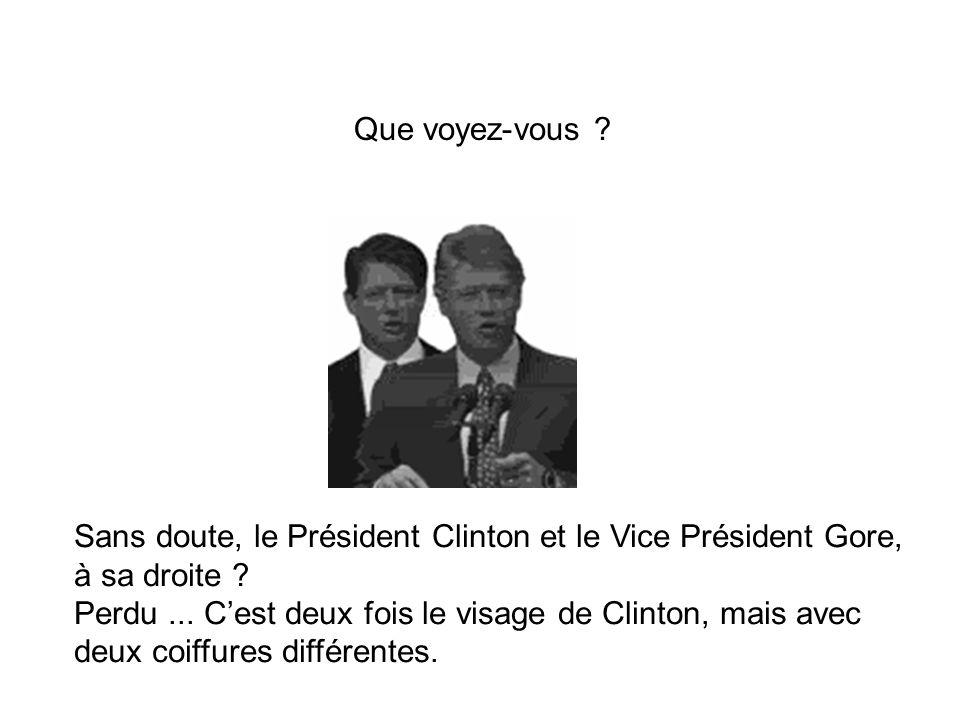 Sans doute, le Président Clinton et le Vice Président Gore, à sa droite ? Perdu... Cest deux fois le visage de Clinton, mais avec deux coiffures diffé