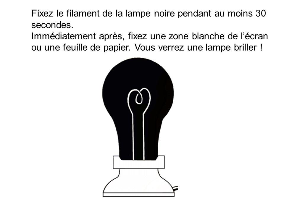 Fixez le filament de la lampe noire pendant au moins 30 secondes. Immédiatement après, fixez une zone blanche de lécran ou une feuille de papier. Vous