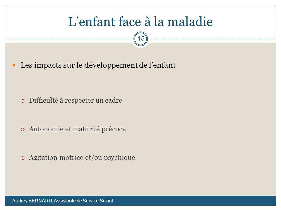 Lenfant face à la maladie Les impacts sur le développement de lenfant Difficulté à respecter un cadre Autonomie et maturité précoce Agitation motrice