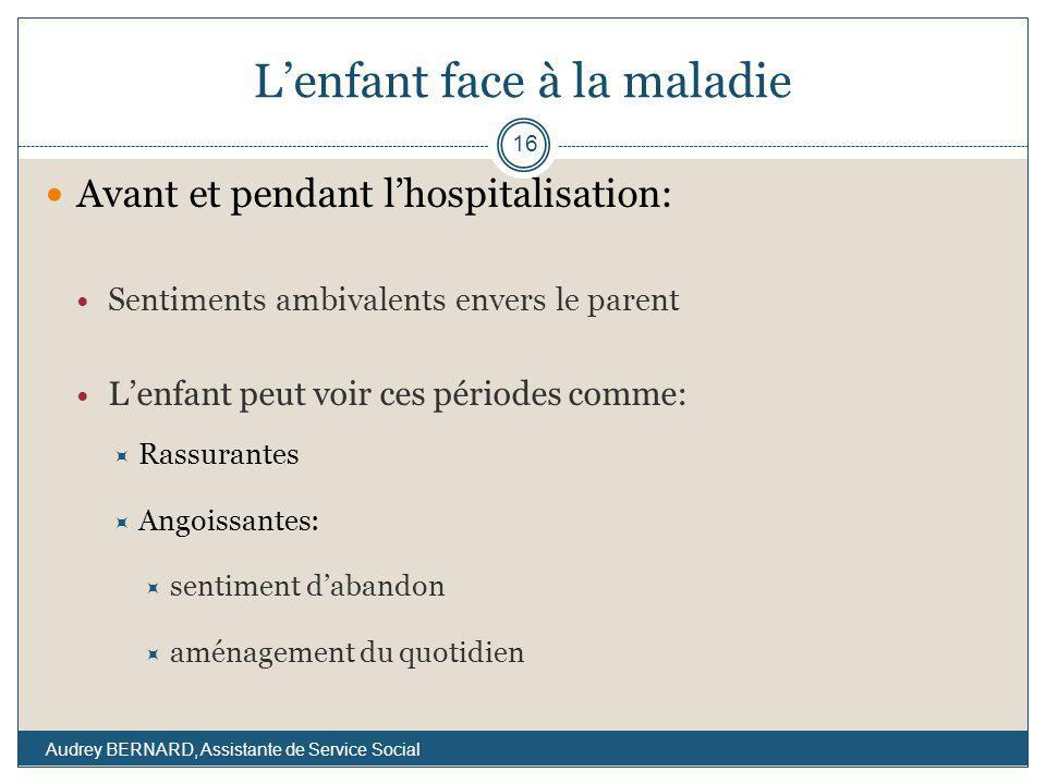 Lenfant face à la maladie Avant et pendant lhospitalisation: Sentiments ambivalents envers le parent Lenfant peut voir ces périodes comme: Rassurantes