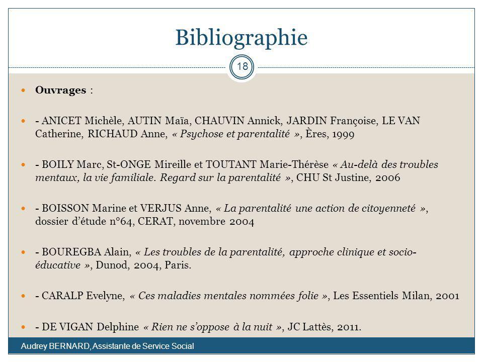 Bibliographie Ouvrages : - ANICET Michèle, AUTIN Maïa, CHAUVIN Annick, JARDIN Françoise, LE VAN Catherine, RICHAUD Anne, « Psychose et parentalité »,