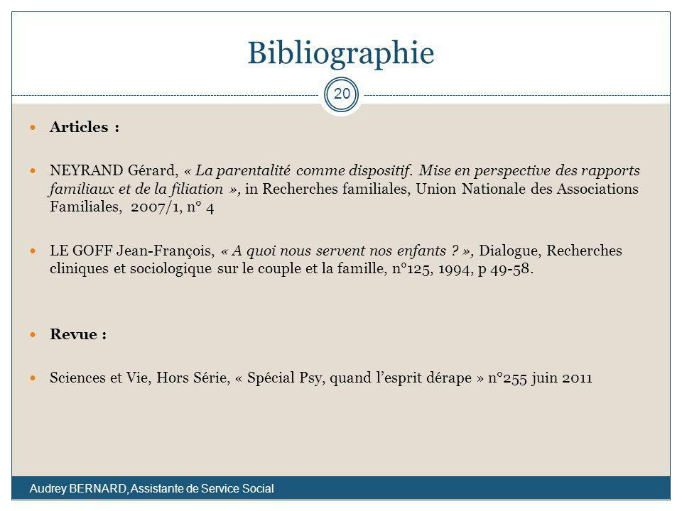 Bibliographie Articles : NEYRAND Gérard, « La parentalité comme dispositif. Mise en perspective des rapports familiaux et de la filiation », in Recher