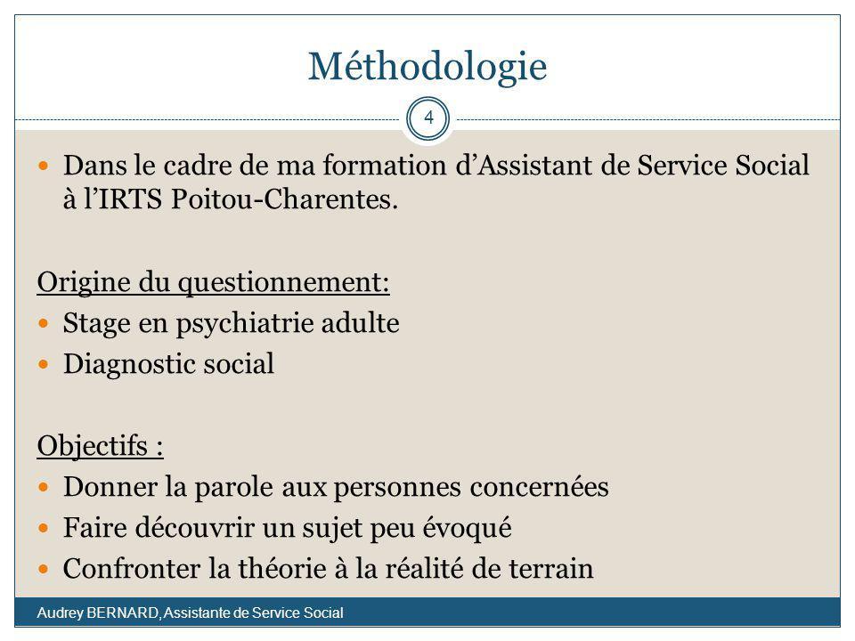 Méthodologie Dans le cadre de ma formation dAssistant de Service Social à lIRTS Poitou-Charentes. Origine du questionnement: Stage en psychiatrie adul