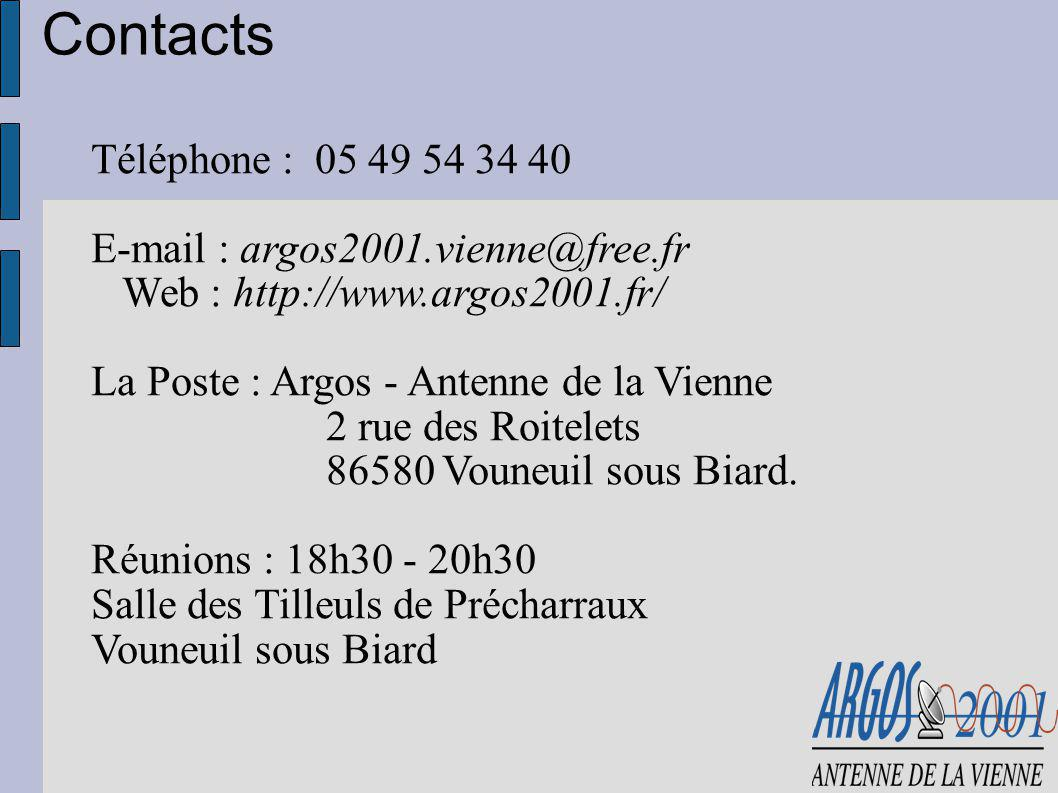 Téléphone : 05 49 54 34 40 E-mail : argos2001.vienne@free.fr Web : http://www.argos2001.fr/ La Poste : Argos - Antenne de la Vienne 2 rue des Roitelet