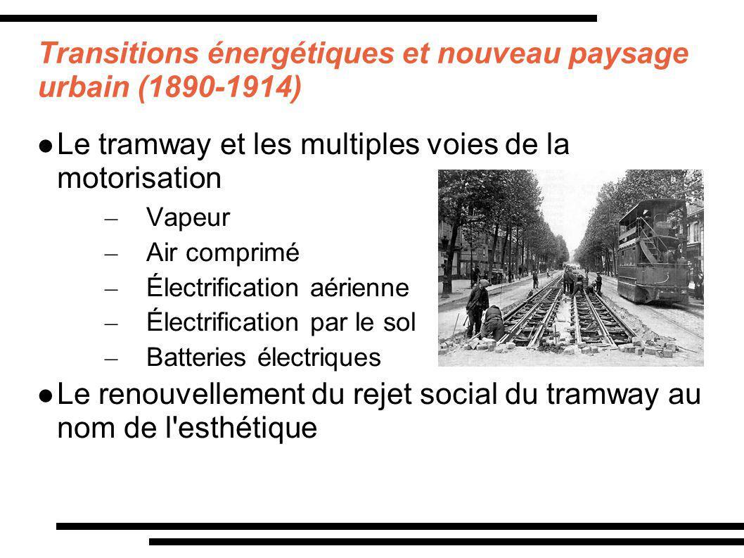 Transitions énergétiques et nouveau paysage urbain (1890-1914) Le tramway et les multiples voies de la motorisation – Vapeur – Air comprimé – Électrif