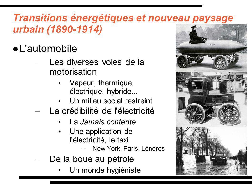 Transitions énergétiques et nouveau paysage urbain (1890-1914) L'automobile – Les diverses voies de la motorisation Vapeur, thermique, électrique, hyb