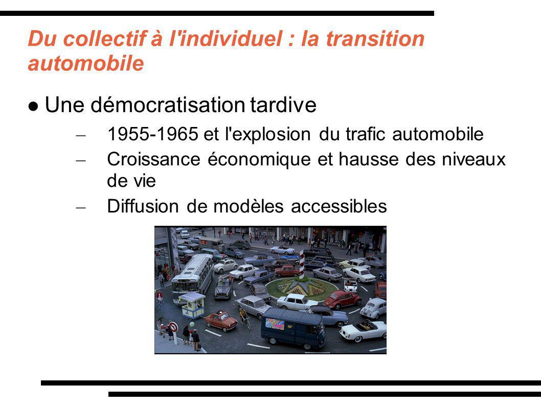Du collectif à l'individuel : la transition automobile Une démocratisation tardive – 1955-1965 et l'explosion du trafic automobile – Croissance économ