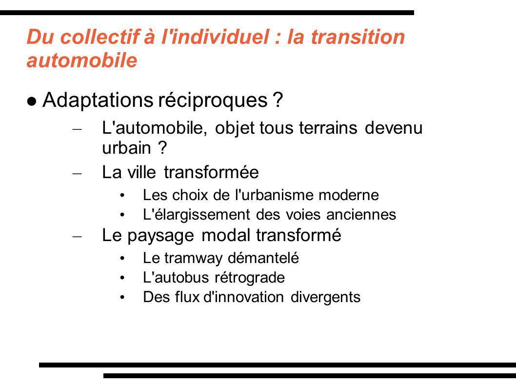 Du collectif à l'individuel : la transition automobile Adaptations réciproques ? – L'automobile, objet tous terrains devenu urbain ? – La ville transf