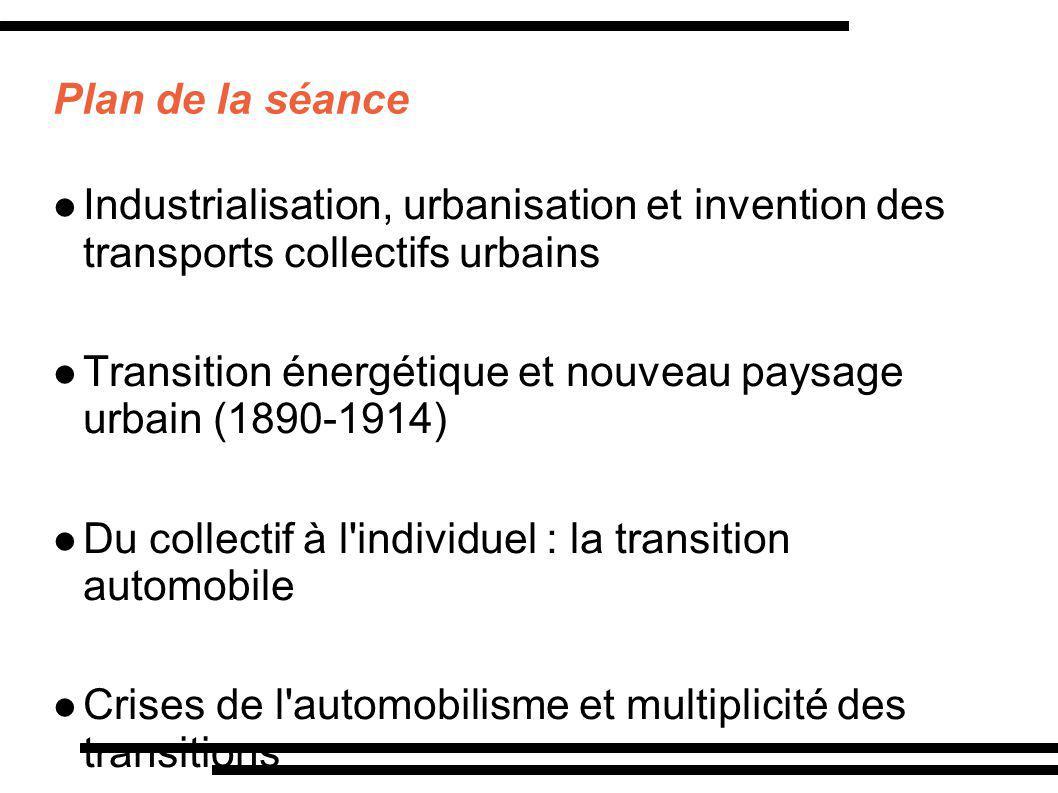 Plan de la séance Industrialisation, urbanisation et invention des transports collectifs urbains Transition énergétique et nouveau paysage urbain (189