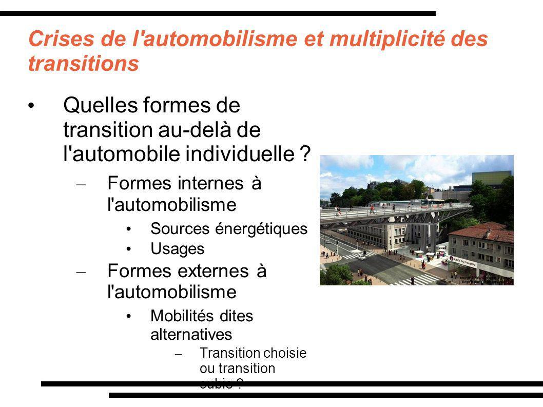 Crises de l'automobilisme et multiplicité des transitions Quelles formes de transition au-delà de l'automobile individuelle ? – Formes internes à l'au