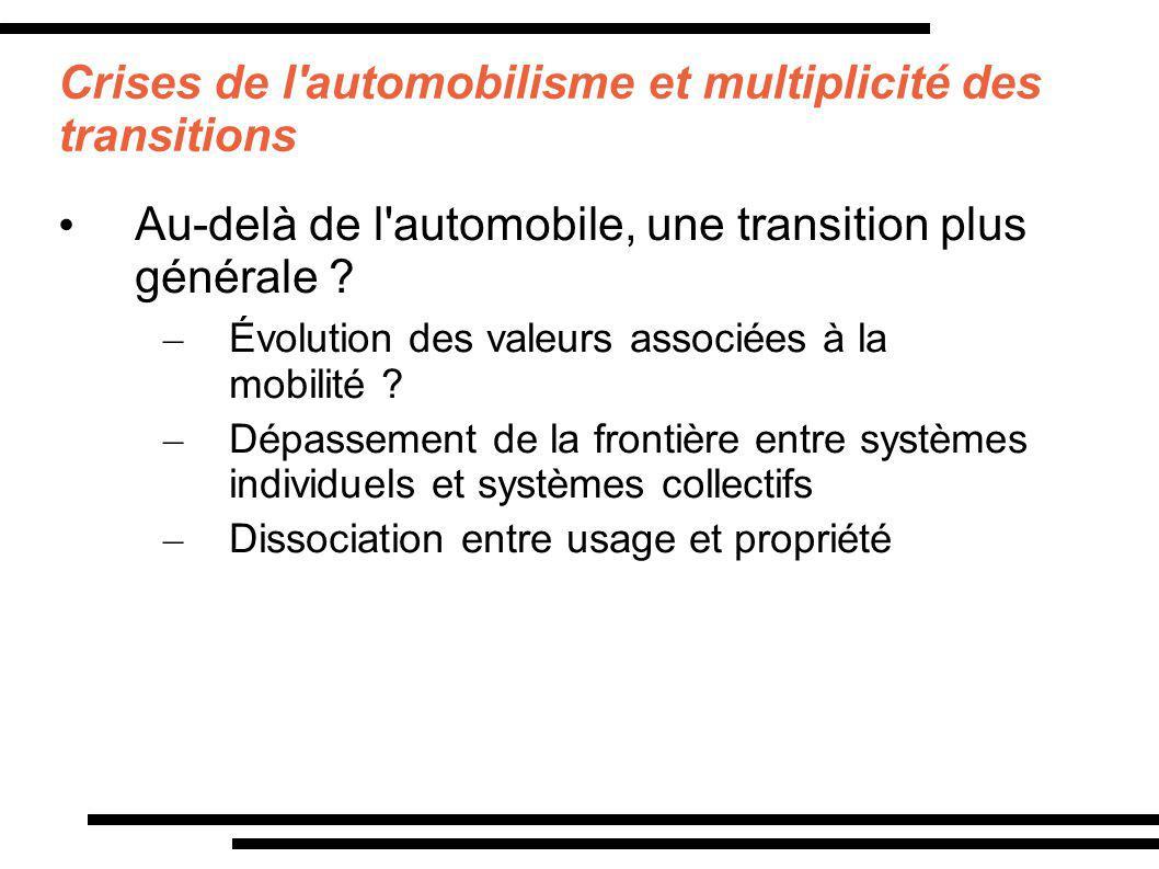 Crises de l'automobilisme et multiplicité des transitions Au-delà de l'automobile, une transition plus générale ? – Évolution des valeurs associées à