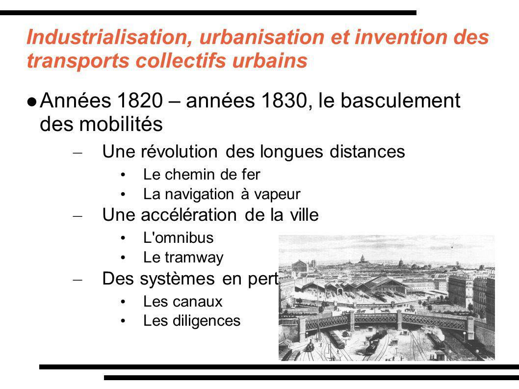 Industrialisation, urbanisation et invention des transports collectifs urbains Années 1820 – années 1830, le basculement des mobilités – Une révolutio