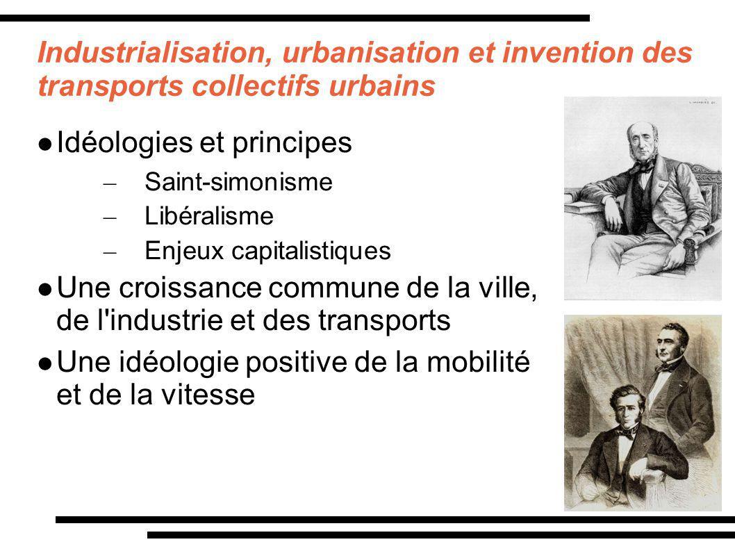 Industrialisation, urbanisation et invention des transports collectifs urbains Idéologies et principes – Saint-simonisme – Libéralisme – Enjeux capita
