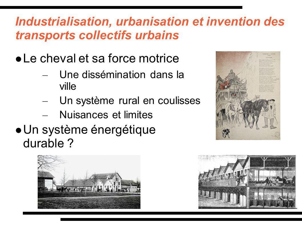 Industrialisation, urbanisation et invention des transports collectifs urbains Le cheval et sa force motrice – Une dissémination dans la ville – Un sy