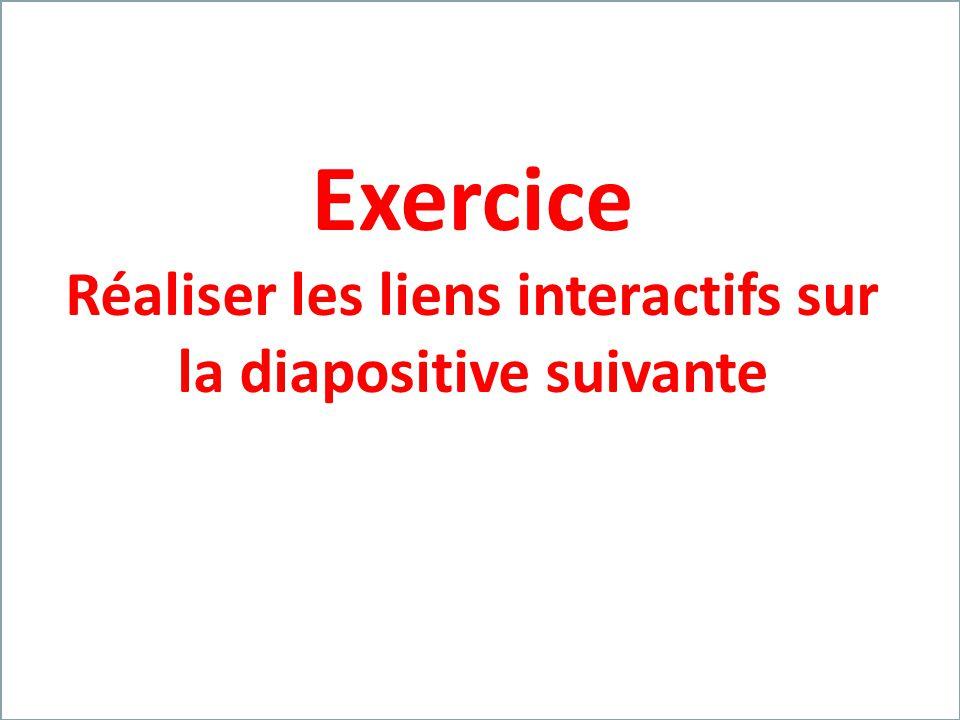 Franck VIDAL – Opération Univercité – 04-06 oct.2011 Exercice Réaliser les liens interactifs sur la diapositive suivante