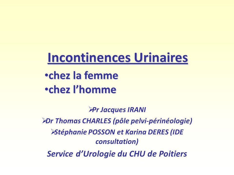Incontinences Urinaires Pr Jacques IRANI Dr Thomas CHARLES (pôle pelvi-périnéologie) Stéphanie POSSON et Karina DERES (IDE consultation) Service dUrol