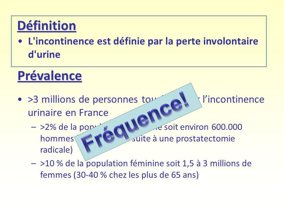 Définition >3 millions de personnes touchées par lincontinence urinaire en France –>2% de la population masculine soit environ 600.000 hommes (dont 10