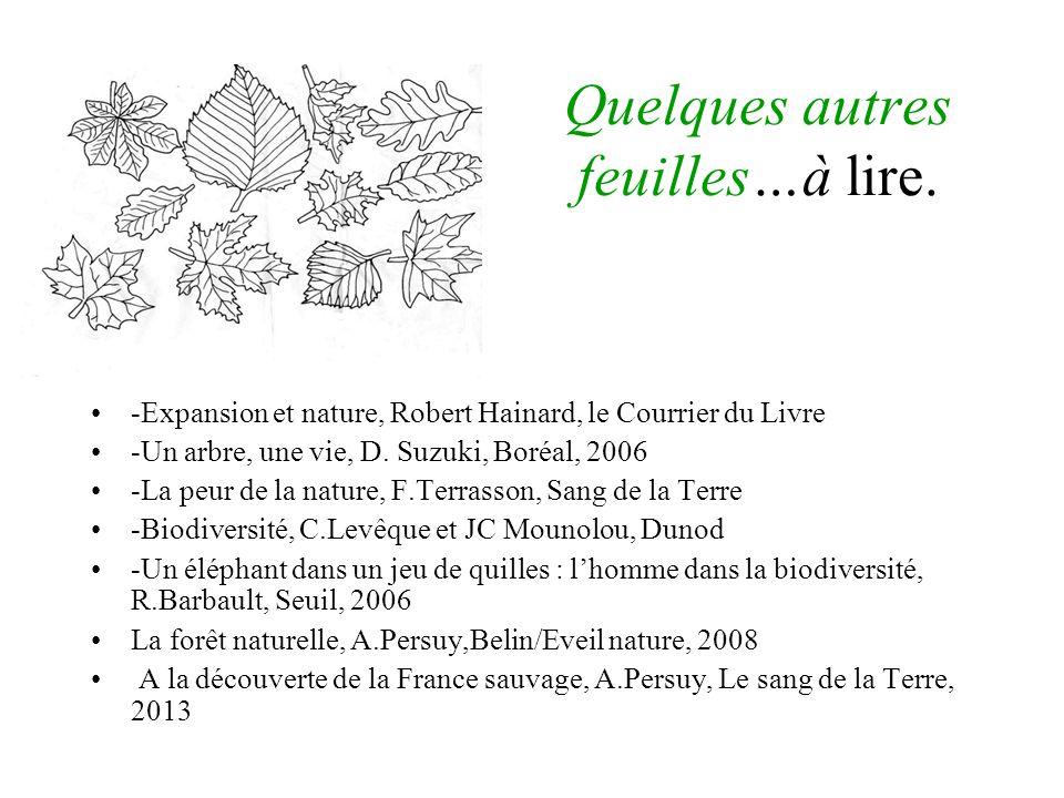 Quelques autres feuilles…à lire. -Expansion et nature, Robert Hainard, le Courrier du Livre -Un arbre, une vie, D. Suzuki, Boréal, 2006 -La peur de la