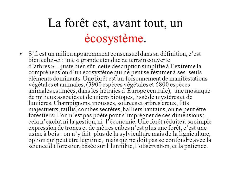 La forêt est, avant tout, un écosystème. Sil est un milieu apparemment consensuel dans sa définition, cest bien celui-ci : une « grande étendue de ter