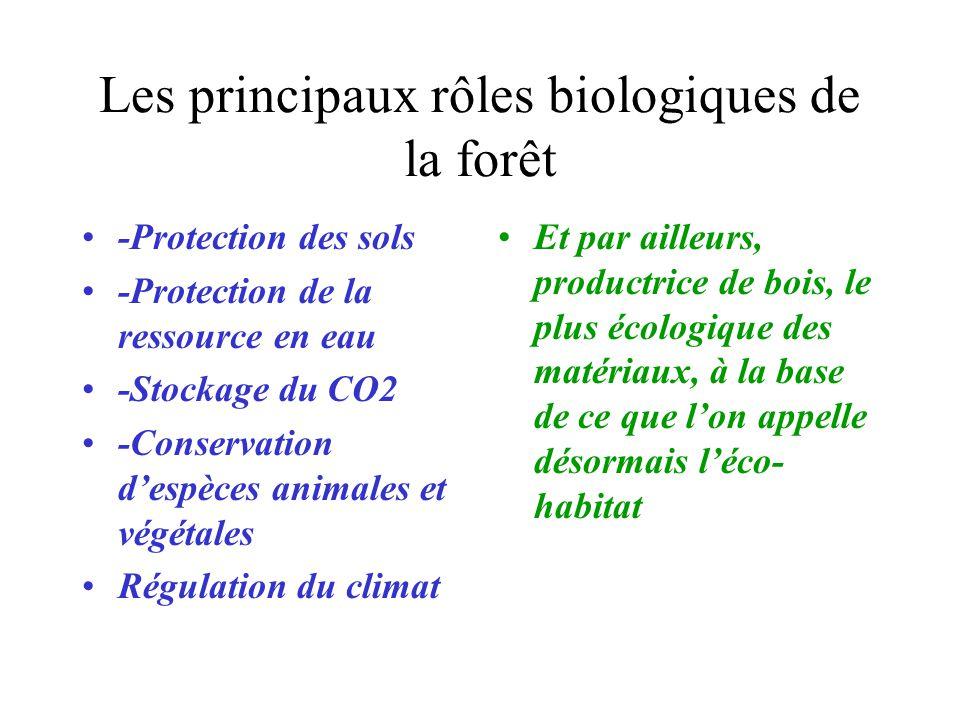 Les principaux rôles biologiques de la forêt -Protection des sols -Protection de la ressource en eau -Stockage du CO2 -Conservation despèces animales et végétales Régulation du climat Et par ailleurs, productrice de bois, le plus écologique des matériaux, à la base de ce que lon appelle désormais léco- habitat