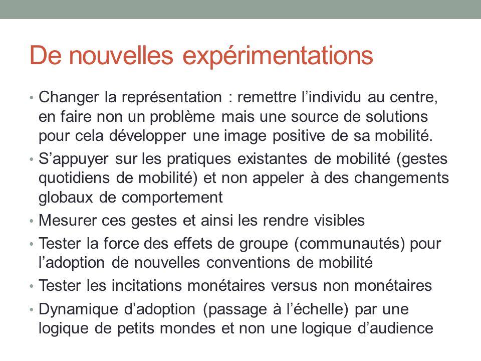 De nouvelles expérimentations Changer la représentation : remettre lindividu au centre, en faire non un problème mais une source de solutions pour cel
