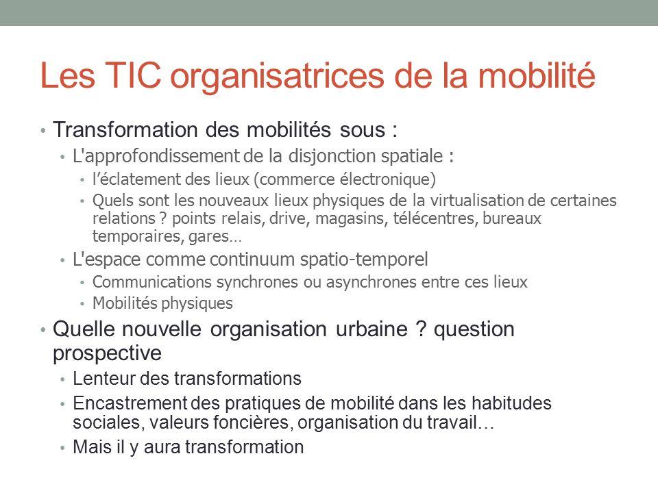 Les TIC organisatrices de la mobilité Transformation des mobilités sous : L'approfondissement de la disjonction spatiale : léclatement des lieux (comm