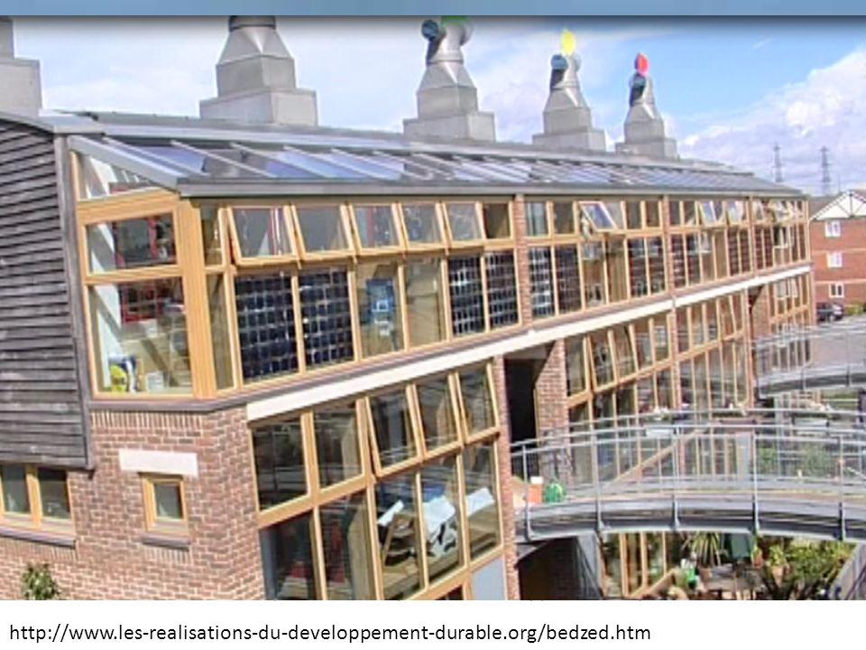 BedZed, un écoquartier durable au Sud de Londres (Beddington Zero (fossil) Energy Development) http://www.les-realisations-du-developpement-durable.or