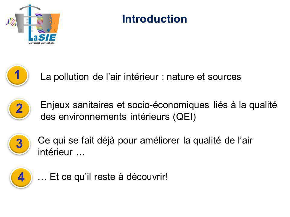 Introduction La pollution de lair intérieur : nature et sources Ce qui se fait déjà pour améliorer la qualité de lair intérieur … Enjeux sanitaires et socio-économiques liés à la qualité des environnements intérieurs (QEI) … Et ce quil reste à découvrir!