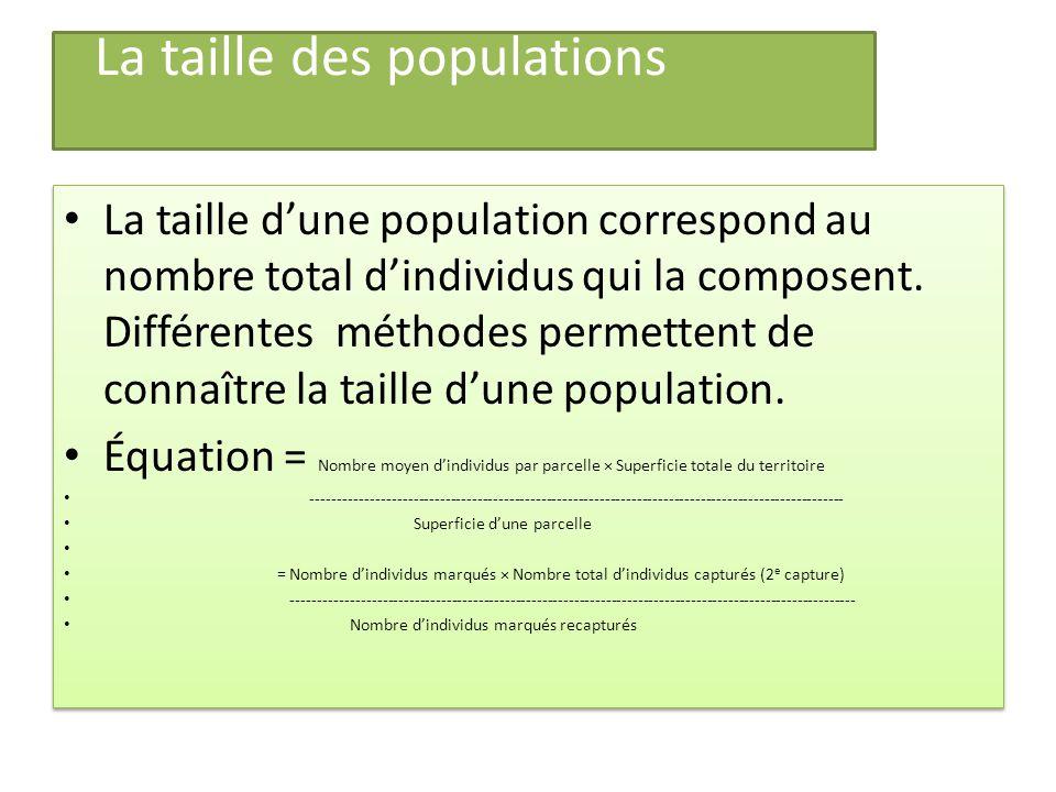 La taille des populations La taille dune population correspond au nombre total dindividus qui la composent.