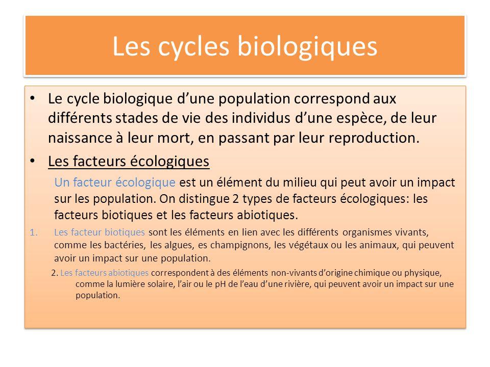 Les cycles biologiques Le cycle biologique dune population correspond aux différents stades de vie des individus dune espèce, de leur naissance à leur mort, en passant par leur reproduction.