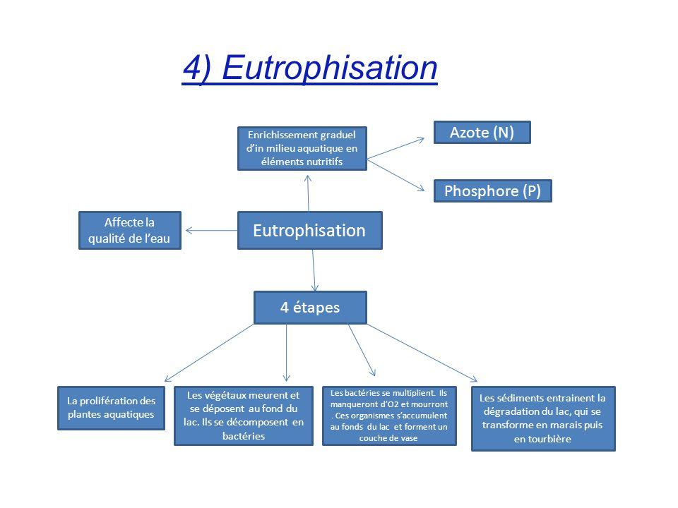 4) Eutrophisation Eutrophisation 4 étapes La prolifération des plantes aquatiques Les végétaux meurent et se déposent au fond du lac. Ils se décompose