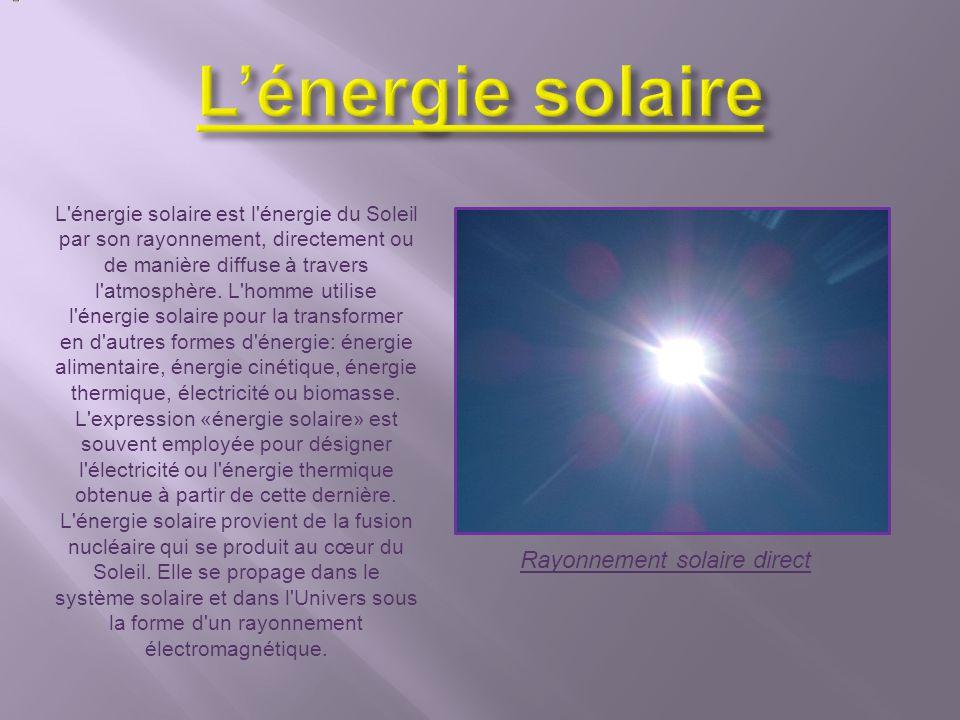 L'énergie solaire est l'énergie du Soleil par son rayonnement, directement ou de manière diffuse à travers l'atmosphère. L'homme utilise l'énergie sol