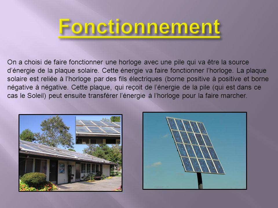 wikipedia.org (lénergie solaire) Google images (panneau solaire, plaque solaire, lénergie solaire) On a acheté les fils électriques, la plaque solaire et la pile de Madisson (563 Boulevard des Laurentides) et lhorloge de Dollarama.