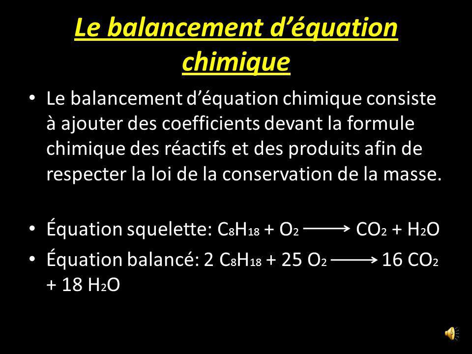 Le balancement déquation chimique Le balancement déquation chimique consiste à ajouter des coefficients devant la formule chimique des réactifs et des produits afin de respecter la loi de la conservation de la masse.