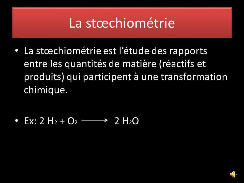 La stœchiométrie La stœchiométrie est létude des rapports entre les quantités de matière (réactifs et produits) qui participent à une transformation chimique.