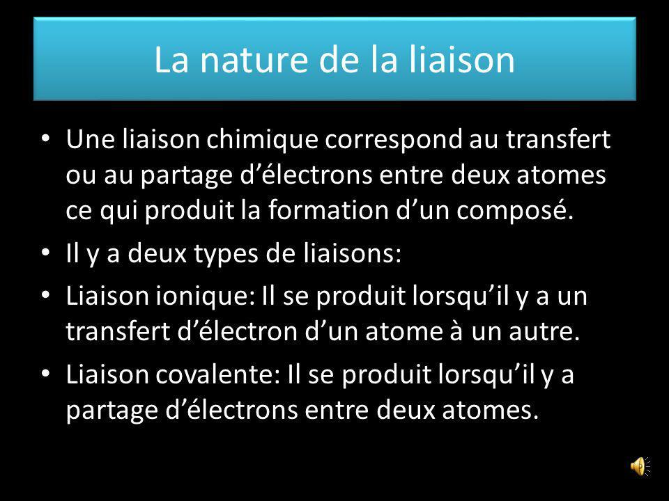 La nature de la liaison Une liaison chimique correspond au transfert ou au partage délectrons entre deux atomes ce qui produit la formation dun composé.