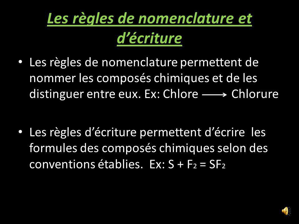 Les règles de nomenclature et décriture Les règles de nomenclature permettent de nommer les composés chimiques et de les distinguer entre eux.