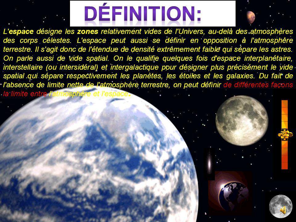 L espace désigne les zones relativement vides de l Univers, au-delà des atmosphères des corps célestes.
