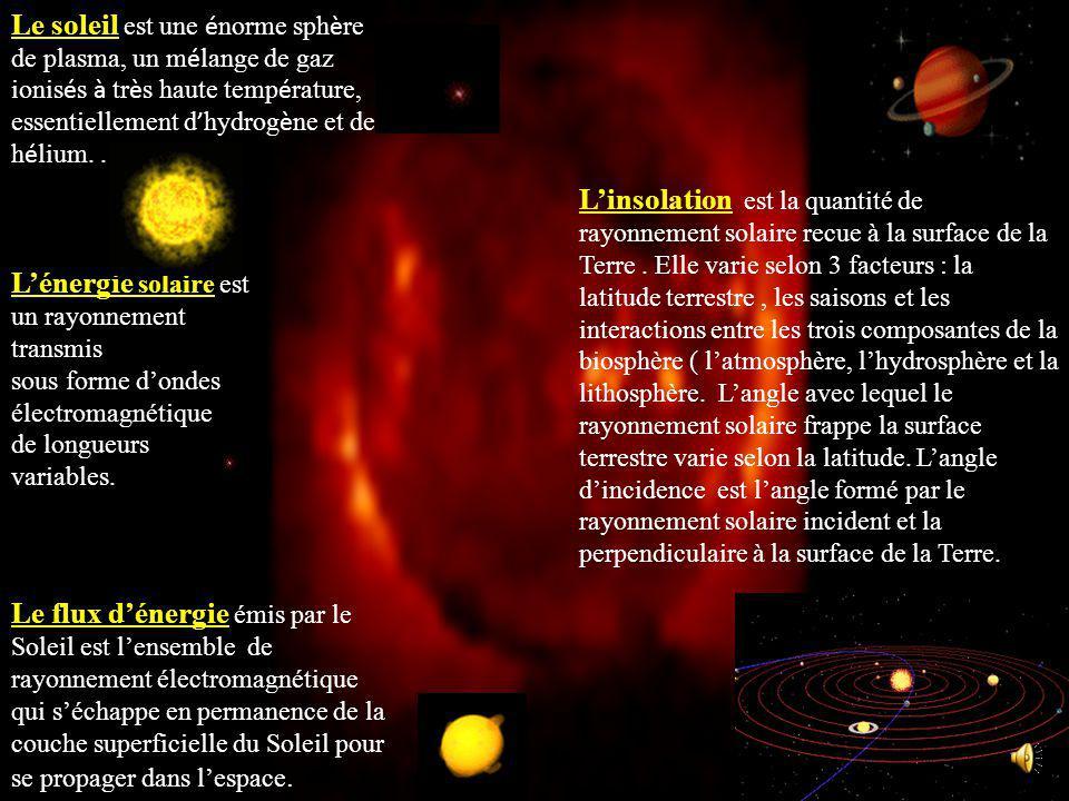 Le soleil est une é norme sph è re de plasma, un m é lange de gaz ionis é s à tr è s haute temp é rature, essentiellement d hydrog è ne et de h é lium..