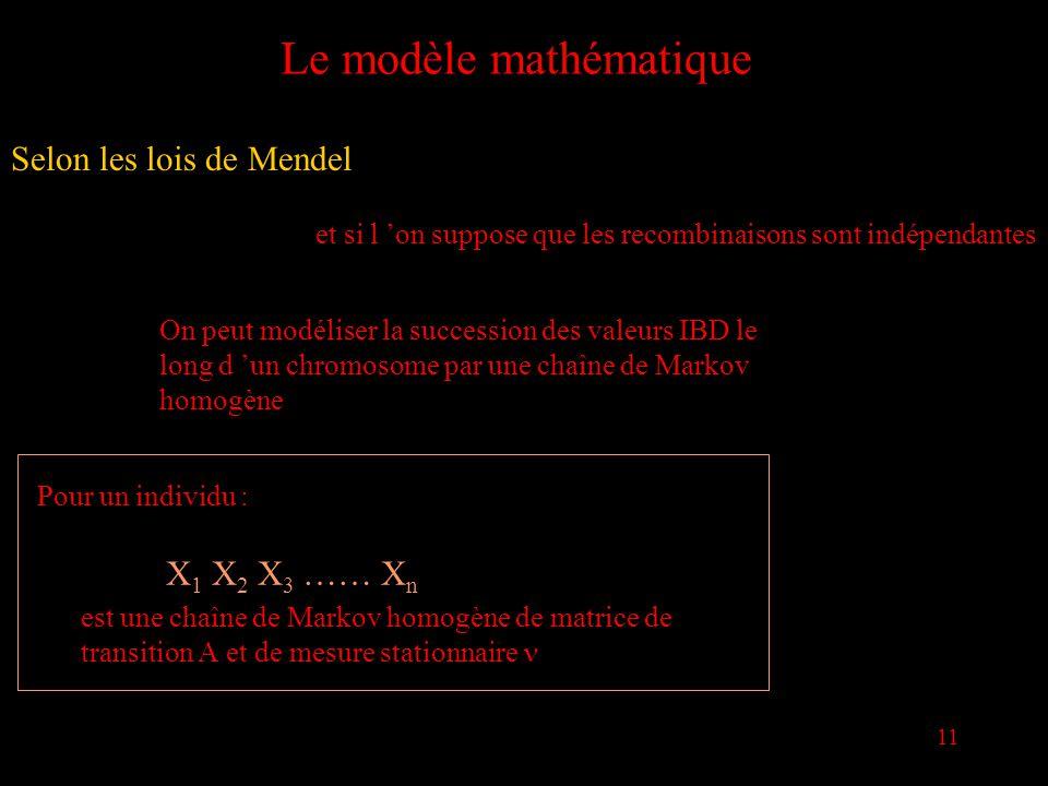 11 Le modèle mathématique Selon les lois de Mendel et si l on suppose que les recombinaisons sont indépendantes On peut modéliser la succession des valeurs IBD le long d un chromosome par une chaîne de Markov homogène Pour un individu : X 1 X 2 X 3 …… X n est une chaîne de Markov homogène de matrice de transition et de mesure stationnaire