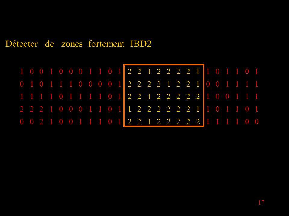 17 Détecter de zones fortement IBD2 1001000110122122221101101 0101110000122221221001111 1111011110122122222100111 2221000110112222221101101 0021001110122122222111100