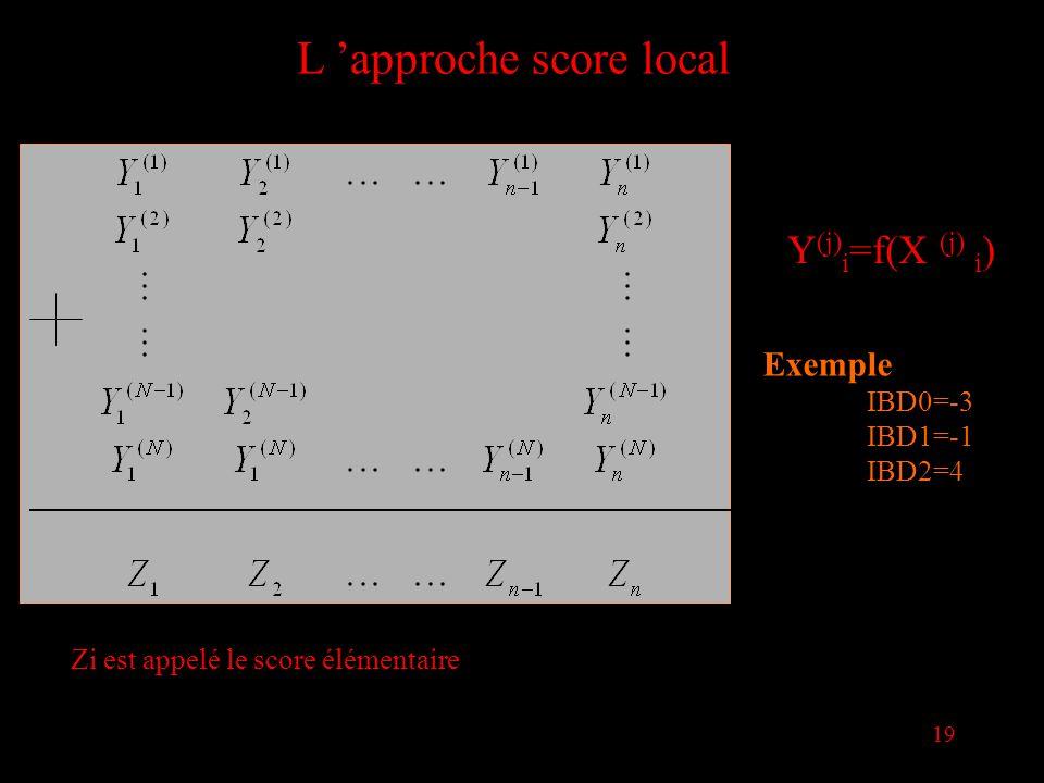 19 L approche score local Y (j) i =f(X (j) i ) Exemple IBD0=-3 IBD1=-1 IBD2=4 Zi est appelé le score élémentaire