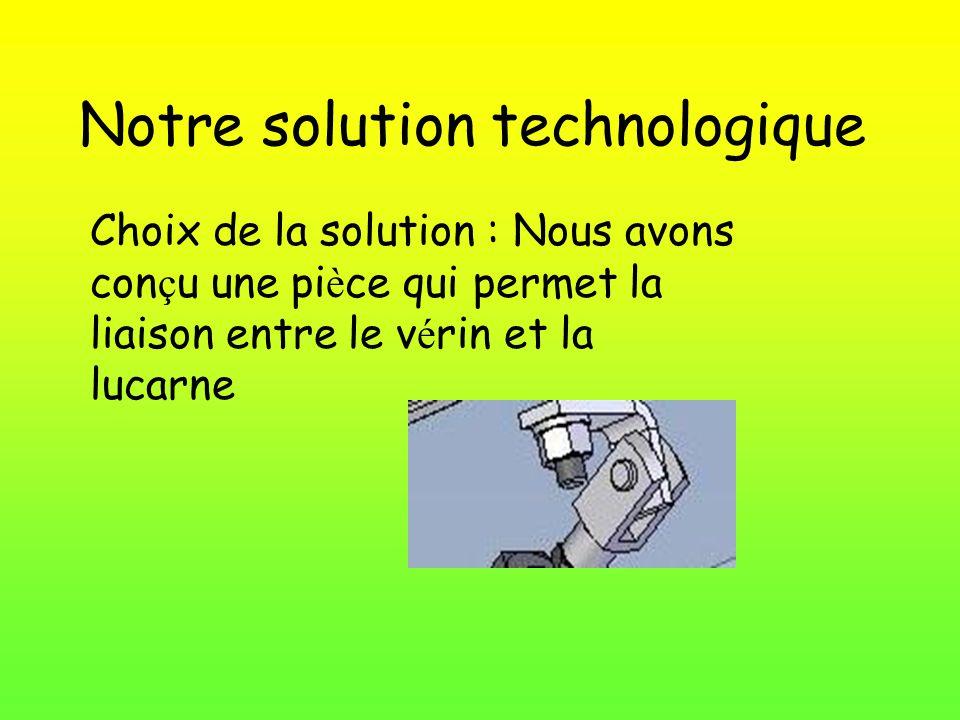 Notre solution technologique Choix de la solution : Nous avons con ç u une pi è ce qui permet la liaison entre le v é rin et la lucarne
